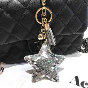 *SAIGE* Silver Sequin Star Pendant Car Keychain